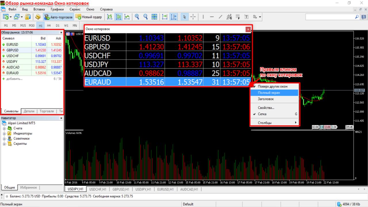 Обзор рынка-Команда-Окно котировок в Mt5