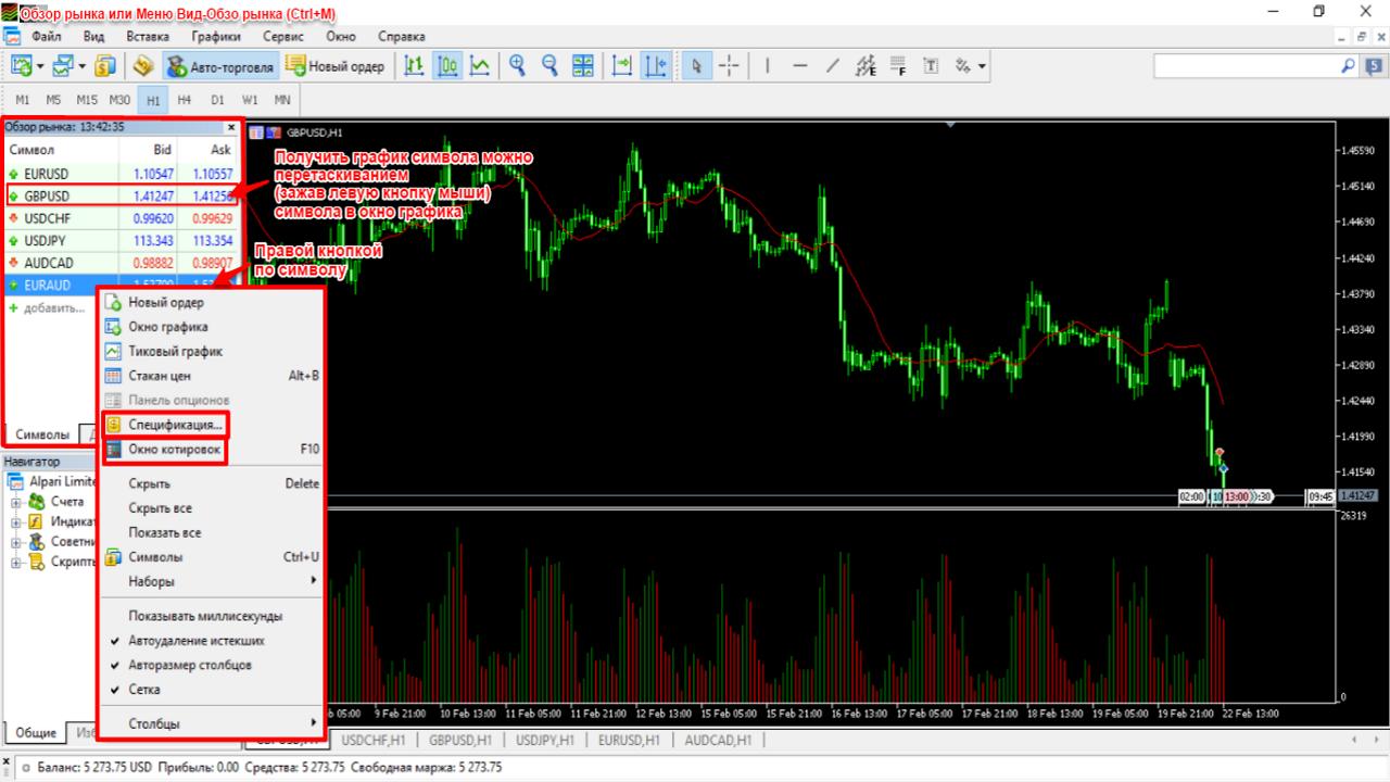 Обзор рынка в Mt5