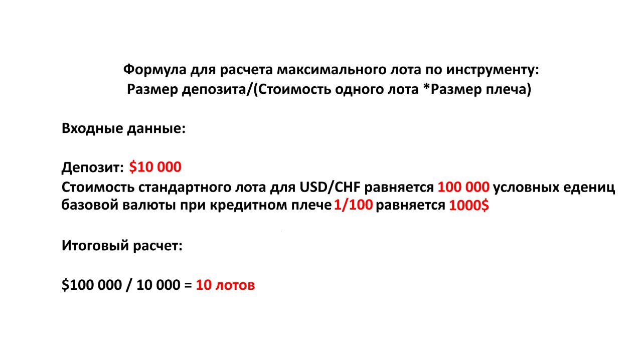 Пример расчета максимального лота по паре USDCHF